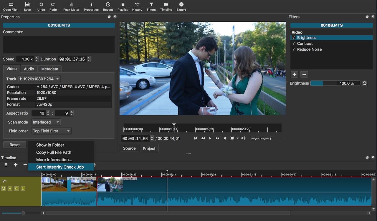 Screenshot of Shotcut v16.04