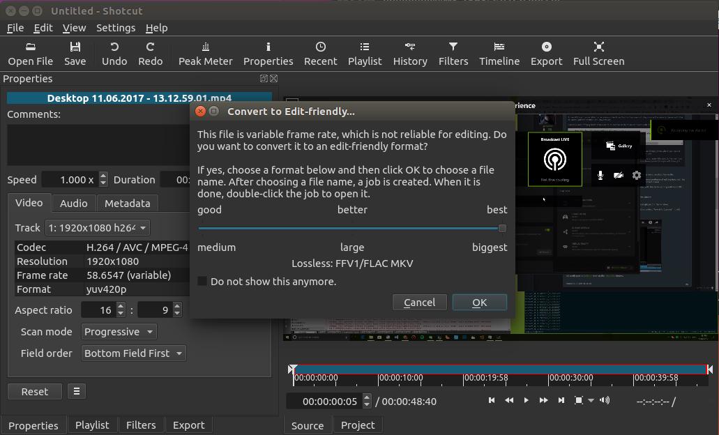Convert to Edit-friendly dialog