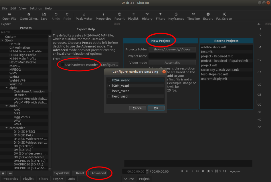 Screenshot of the New Project view, Advanced button for Export, and Use hardware encoder checkbox