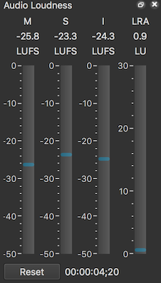 v16.04 screenshot of loudness meter