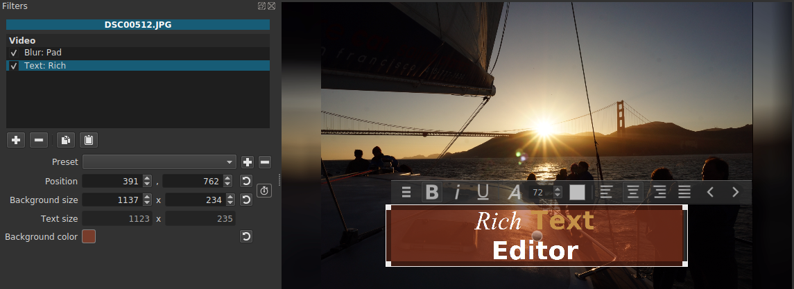 Screenshot of Text: Rich Video Filter